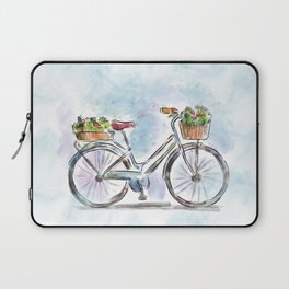 Spring Bicycle Watercolor with Flowers Laptop Sleeve