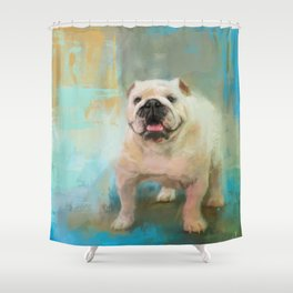 White English Bulldog Shower Curtain