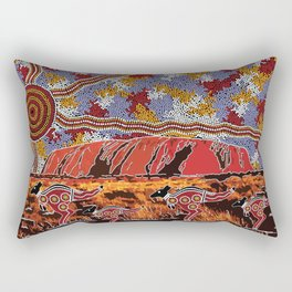 Uluru (Ayers Rock) Authentic Aboriginal Art Rectangular Pillow