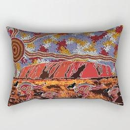 Uluru (Ayers Rock) Authentic Aboriginal Art Rectangular Pillow