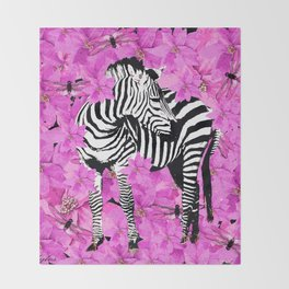 ZEBRA AND PINK FLOWERS and DRAGONFLIES Throw Blanket