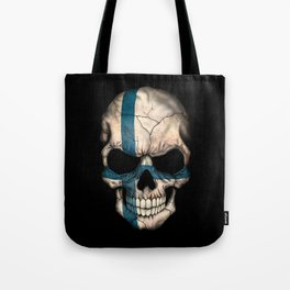 Dark Skull with Flag of Finland Tote Bag