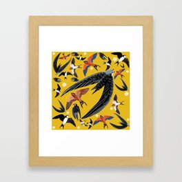 Swallows Martins and Swift pattern Yellow Framed Art Print