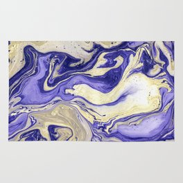 Painting marbled violet and golden Rug