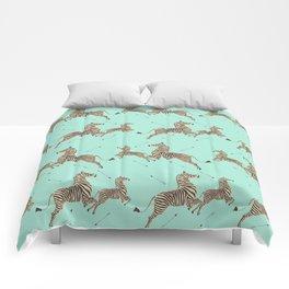 Royal Tenenbaums Zebra Wallpaper - Seafoam green Comforters