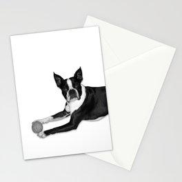 Fetch Boston Terrier B/W Stationery Cards