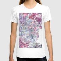 detroit T-shirts featuring Detroit map by MapMapMaps.Watercolors