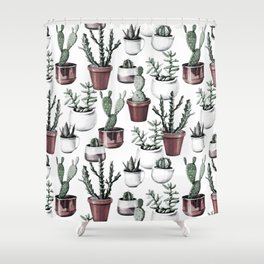 Happy Cacti in Rose Gold Pots Pattern Shower Curtain