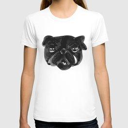 Black and white Pug Dog modern T-shirt