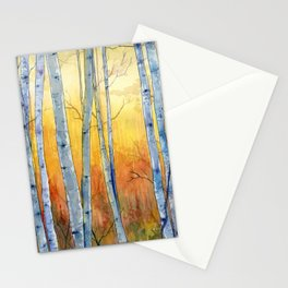 Birch Trees at Sunset Stationery Cards