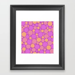 Spots in pink and orange Framed Art Print
