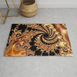 Toffee and Caramel Golden Brown Spiral Mandelbrot Set Fractal Art  Rug
