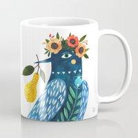 oana befort Mugs featuring BLUE BIRD by Oana Befort