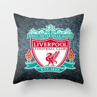 liverpool Throw Pillows featuring LIVERPOOL by Acus