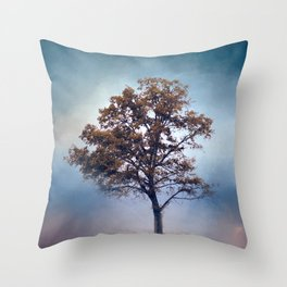 French Blue Cotton Field Tree - Landscape Throw Pillow