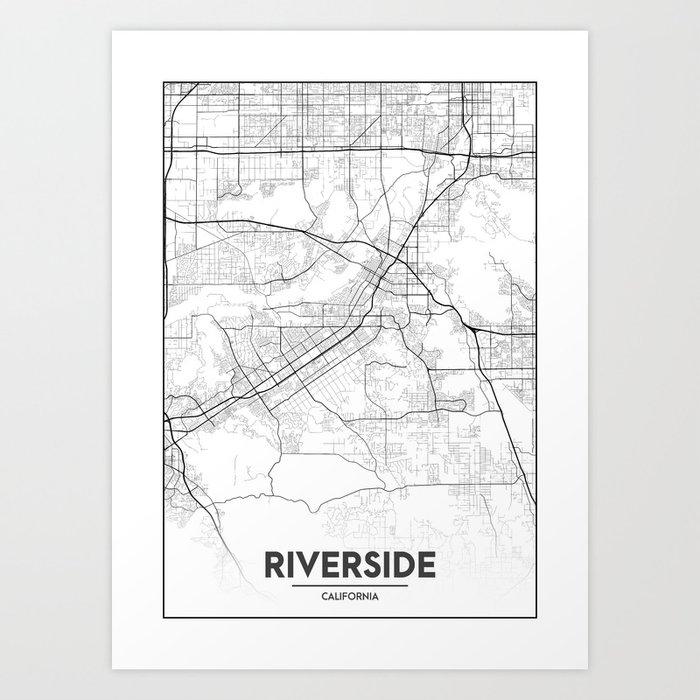 Minimal City Maps - Map Of Riverside, California, United States Art ...