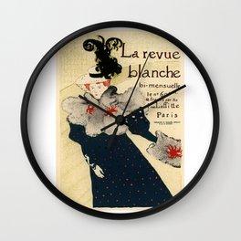 Belle Epoque vintage poster, La Revue Blanche Wall Clock