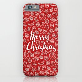 MERRY CHRISTMAS! - Red Pattern iPhone Case