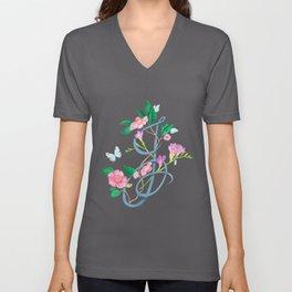 Floral monogram letter J Unisex V-Neck