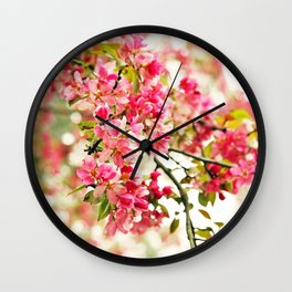 Pink and White Apple Blossoms Wall Clock