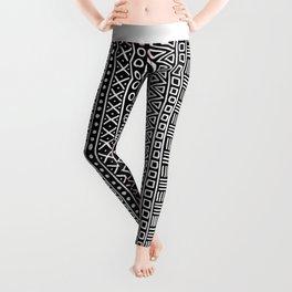 Black white hand painted geometrical aztec pattern Leggings