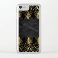 Simply elegance - Gold and black ornamental lace on black paper Clear iPhone Case