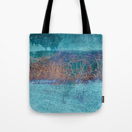 Rust and Cracks Turquoise Tote Bag