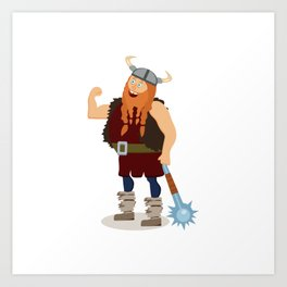 Red-bearded fat viking with a mace Art Print