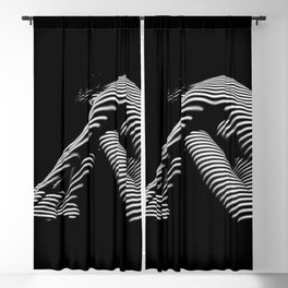 0056-DJA Zebra Back Nude Woman Yoga Black White Abstract Curves Expressive Line Slim Fit Girl Blackout Curtain