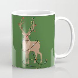 Rudolph Red Nosed Reindeer happy with his Favorite Christmas Lights Coffee Mug