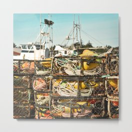 Crab Pot Photograph, Ilwaco Washington Harbor, Northwest Fisherman Boat Photo, Crabber, Seafood Metal Print