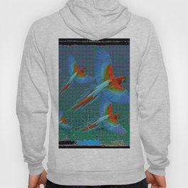 BLACK-TEAL SHABBY CHIC TROPICAL BLUE MACAWS Hoody