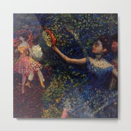 Dancer and Tambourine Portrait Painting by Edgar Degas Metal Print