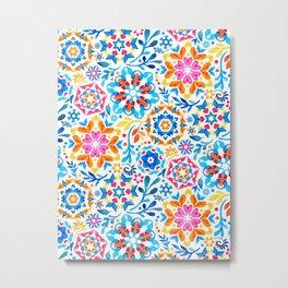 Watercolor Kaleidoscope Floral - brights Metal Print