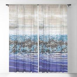 ...blurred line of horizons Sheer Curtain