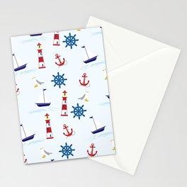 Nautical Pattern (Marine Pattern) - Blue Red White Stationery Cards