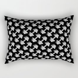 Dumbbellicious inverted / Black and white dumbbell pattern Rectangular Pillow