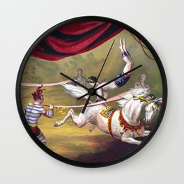 Acrobat on a white horse circus poster Wall Clock