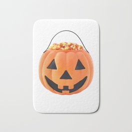 Halloween Jack O Lantern Pumpkin Pail With Candy Corn Bath Mat