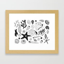 Tropical underwater creatures and seaweeds Framed Art Print