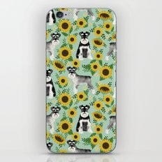 Schnauzer sunflowers spring summer floral dog breed dog pattern pet friendly iPhone & iPod Skin
