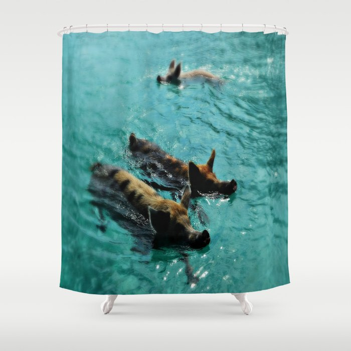 Swimming Pigs In The Exumas Bahamas Caribbean Shower Curtain