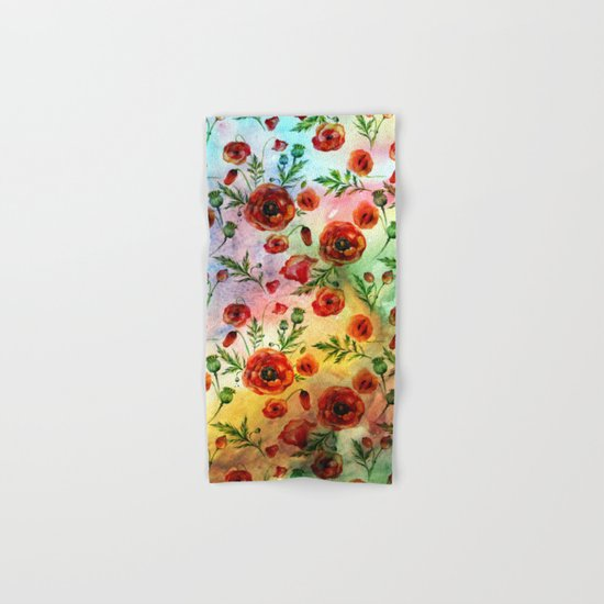 Poppy LOVE pattern- Poppies and Flowers on colorful watercolor background  on #Society6 Hand & Bath Towel