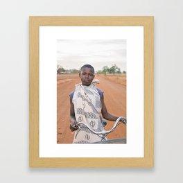 girl on the bike Framed Art Print