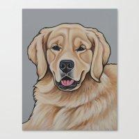 golden retriever Canvas Prints featuring Golden Retriever  by Cheney Beshara