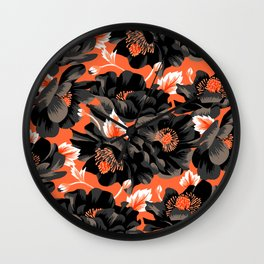 Mount Cook Lily - Orange/Black Wall Clock