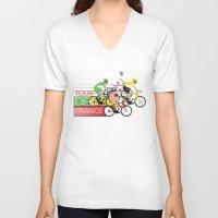 tour de france V-neck T-shirts featuring Tour De France by Wyatt Design