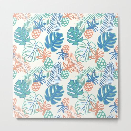 Pineapple pattern. Tropical foliage Metal Print