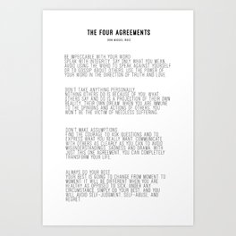 The Four Agreements BW #minimalism Art Print