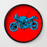 cafe racer Wall Clocks featuring Norton Commando 961 Cafe Racer LOST TIME by Larsson Stevensem